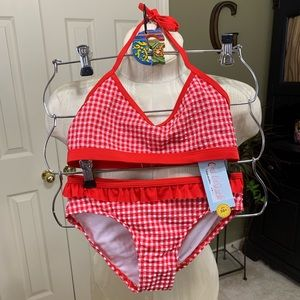 NWT Cat & Jack Girls Red/White Check 2 pc M(7/8)